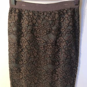 Chocolate Brown Lace Over Gray Skirt